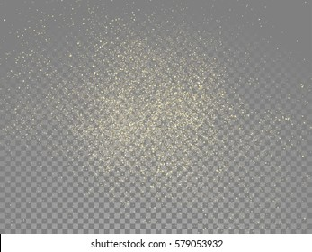 Gold glitter stardust trail on vector transparent background