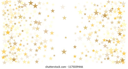 gold glitter stars background, sparkle lights confetti falling. magic shining Flying christmas stars on night sky cosmic backdrop, golden winter vector border isolated on white.