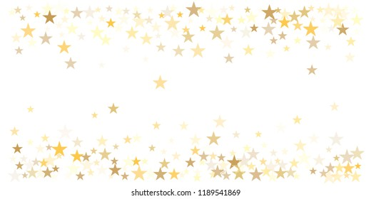 gold glitter stars background, sparkle lights confetti falling. magic shining Flying christmas stars on night sky cosmic backdrop, golden winter vector border isolated on white.