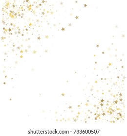 Gold glitter stars corners frame or border, background vector illustration. Golden dust, flying circle yellow and brown confetti elements. Sparkle tinsel elements celebration graphic design.