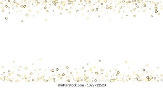 Gold Glitter Stars. Luxury Shiny Confetti. Scattered little sparkle. Flash glow gold elements. Random magic tiny light. Gold stellar fall white background. New Year, Christmas Vector illustration.
