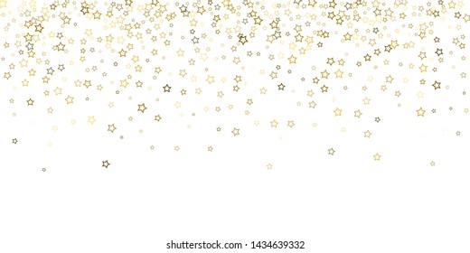 Gold Glitter Stars. Luxury Shiny Confetti. Scattered little sparkle. Flash glow silver, elements. Random magic tiny light. Gold stellar fall white background. New Year, Christmas Vector illustration.