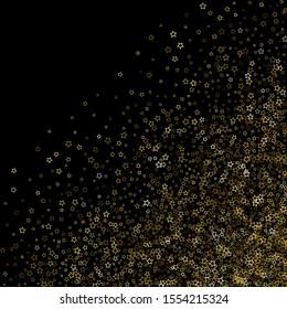 Gold Glitter Stars. Luxury Shiny Confetti. Scattered little sparkle. Flash glow silver, elements. Random magic tiny light. Gold stellar fall black background. New Year, Christmas Vector illustration.