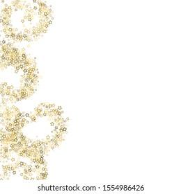 Gold Glitter Stars. Luxury Shiny Confetti. Scattered little sparkle. Flash glow silver, elements. Random magic tiny light. Gold stellar fall white background. New Year, Christmas Vector illustration.