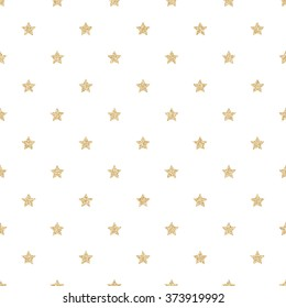 Gold glitter stars seamless pattern background.