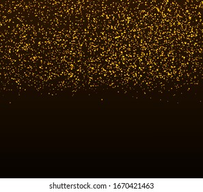 Gold glitter texture. Golden abstract particles. Sparkle glitter background. Vector illustration. Golden confetti.