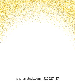 Gold glitter texture. Golden shiny sparkles on white background.
