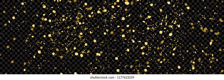 Gold glitter texture isolated on wide  black transparent background, vector illustration. Confetti particles flying in the air, explosion golden fragments concept.