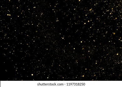 Gold glitter texture isolated on black. Amber particles color. Celebratory background. Golden explosion of confetti. Design element. Vector illustration, eps 10.