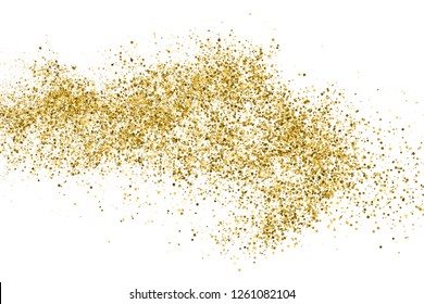 Gold Glitter Texture Isolated On White. Amber Particles Color. Celebratory Background. Golden Explosion Of Confetti. Vector Illustration, Eps 10.