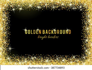 Gold glitter texture isolated on black background. Vector illustration for golden shimmer background. Sparkle sequin tinsel yellow bling. For sale gift card, brightly vibrant certificate, voucher