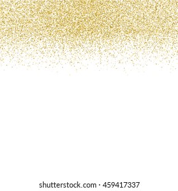 Gold glitter texture isolated on white background. Golden dots background. Vector illustration.