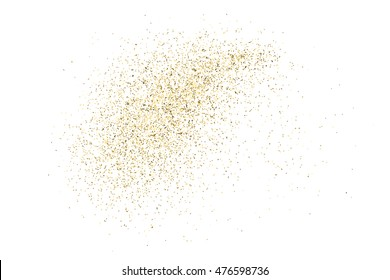 Gold glitter texture isolated on white. Golden color of winners. Gilded abstract particles. Explosion of confetti shine. Celebratory background. Vector illustration,eps 10.