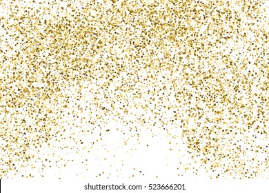 Gold glitter texture isolated on white. Amber color background. Golden explosion of confetti. Vector illustration,eps 10.