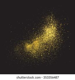 Gold glitter texture on a black background. Vector design element golden explosion . Golden grainy abstract texture on a black background