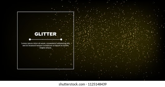 Gold glitter texture on wide black background with space for text, vector illustration. Confetti particles flying in the air, explosion golden fragments concept.