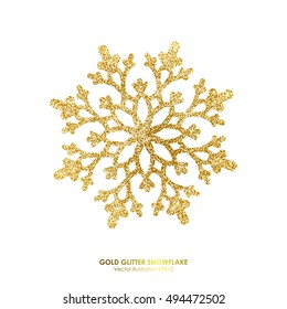 Gold glitter texture snowflake isolated on white background.. Vector illustration.