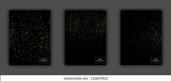 Gold glitter textures set on black background, vector illustration. Confetti particles flying in the air, explosion golden fragments party invitation concept.