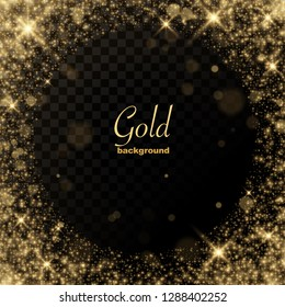 gold glitter transparent background place for text