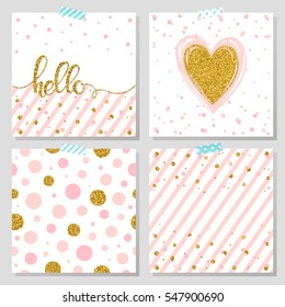 Gold glitter typography. Hello - Hand painted gold lettering, gold glitter heart, dots seamless pattern and pink stripes. Gold glitter vector. Perfect for valentines day, prints,cards,flyer and more.