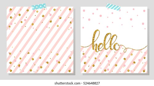 Gold glitter typography.Hello - Hand painted gold lettering on abstract background with gold dots and pink stripes.Beautiful template for cards,prints and so much more.Gold glitter vector.