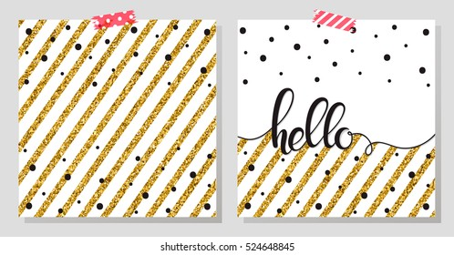 Gold glitter typography.Hello - Hand painted lettering.Abstract background with black dots and gold stripes.Beautiful template for cards,prints and so much more.Gold glitter vector.