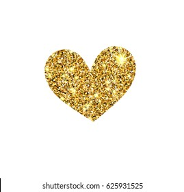 Gold glitter vector heart. Golden sparcle St. Valentines day card. Luxouy design element. Amber particles.