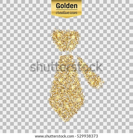 0164f8b5185 Gold glitter vector icon of necktie isolated on background. Art creative  concept illustration for web