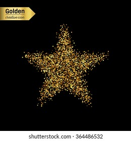 Gold glitter vector icon of star isolated on background. Art creative concept illustration for web, glow light confetti, bright sequins, sparkle tinsel, abstract bling, shimmer dust, foil.