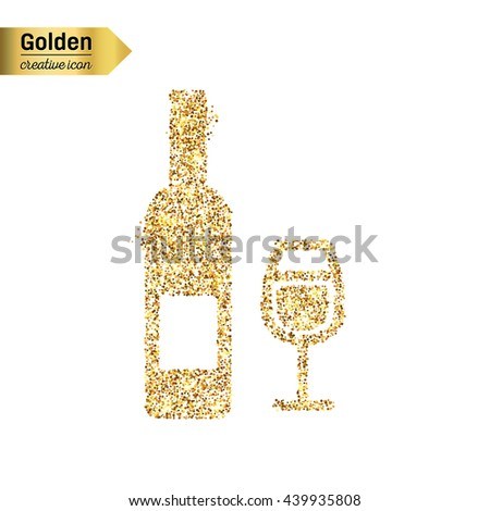 8e293590dc9 Gold glitter vector icon of wine bottle isolated on background. Art  creative concept illustration for