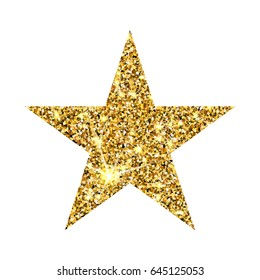 Gold glitter vector star. Golden sparkle luxury design element. Amber particles.