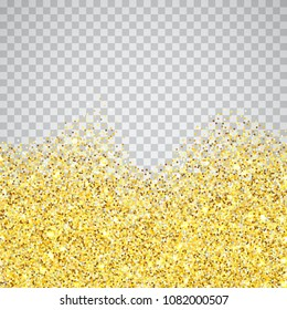 Gold glitter wave texture border over transparent checker background. Abstract golden sparkles of confetti. Vector square backdrop illustration.
