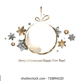 The gold glitter winter holiday border. frame in shape of the Christmas ball for your text with modern snowflakes behind it.