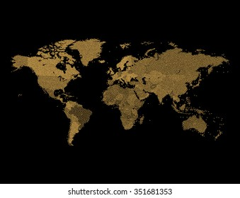 Gold Glitter World map - Geographical Map of Earth made of glittering dots