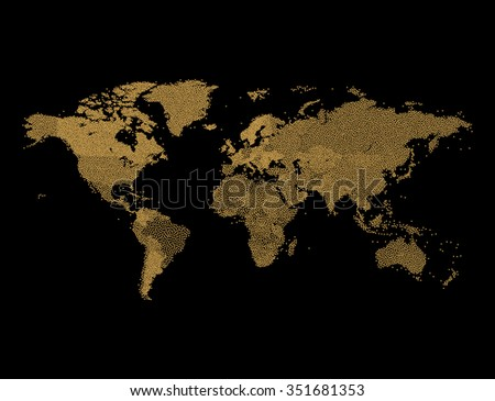 Geographic Map Of Earth.Gold Glitter World Map Geographical Map Stock Vector Royalty Free