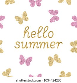 Gold glittering butterflies on white background and text. Hello summer glamour concept. Vector illustration.
