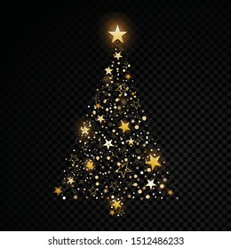 Gold glittering christmas tree star dust sparkling particles on transparent Vector glamour fashion illustration