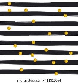 Gold glittering confetti pattern on stripe background