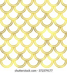 Gold glittering foil japanese waves seamless pattern background