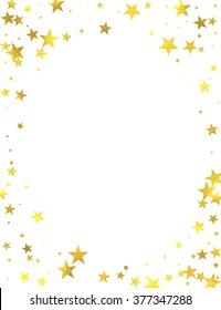 Gold glittering frame with foil stars isolated on white background, vector design elements