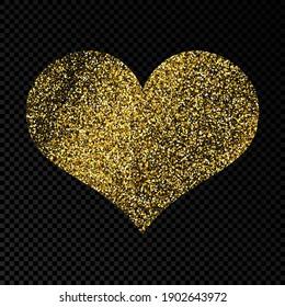 Gold glittering heart on dark transparent background. Background with gold sparkles and glitter effect. Vector illustration