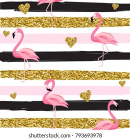 Gold glittering hearts and flamingos seamless pattern on striped background vector illustration. Pattern texture