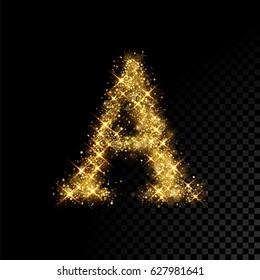 Gold glittering letter A. Vector shining golden font lettering of sparkles on black background.