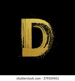 Gold glittering letter D in brush hand painted style