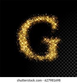 Gold glittering letter G. Vector shining golden font lettering of sparkles on black background.