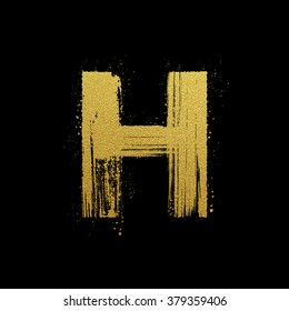 Gold glittering letter H in brush hand painted style