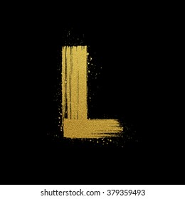 Gold glittering letter L in brush hand painted style