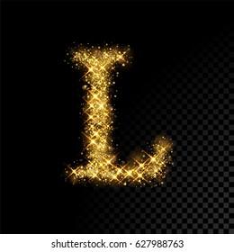 Gold glittering letter L. Vector shining golden font lettering of sparkles on black background.