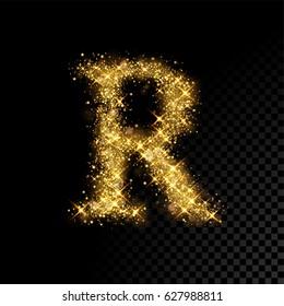 Gold glittering letter R. Vector shining golden font lettering of sparkles on black background.