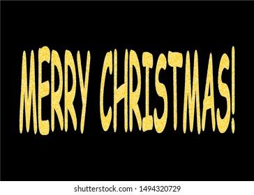 Gold Glittering Lettering Merry Christmas on Black Background.
